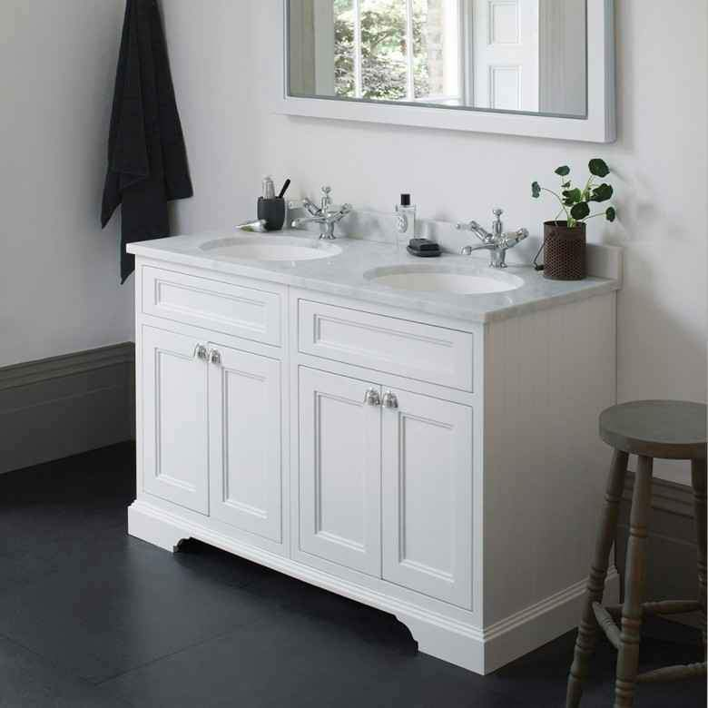 Burlington Matt White Classic 1300mm Double Vanity Unit with Minerva Worktop & Basin