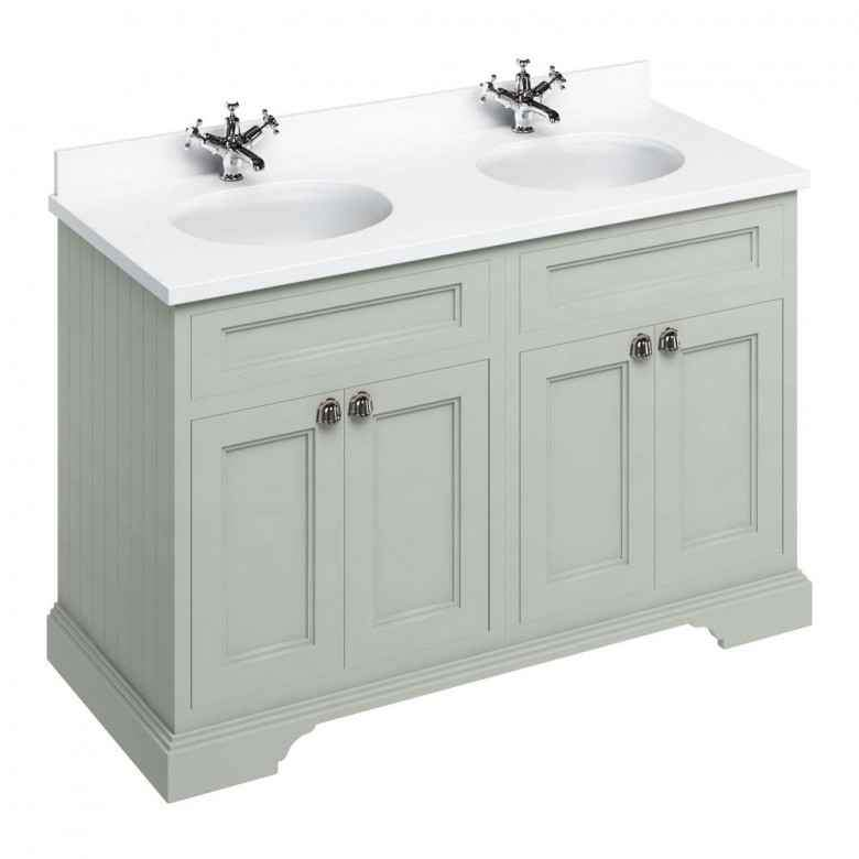 Burlington Olive Classic 1300mm Double Vanity Unit with Minerva Worktop & Basin