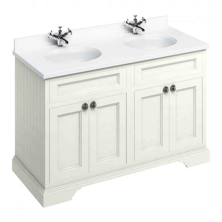 Burlington Sand Classic 1300mm Double Vanity Unit with Minerva Worktop & Basin