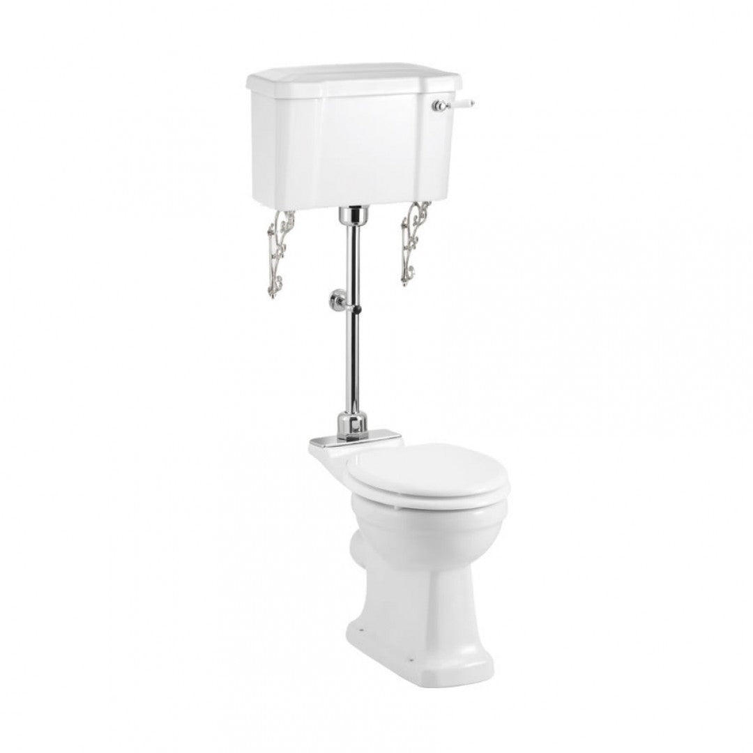Burlington Rimless Medium Level Toilet With 520 Lever Flush Cistern with White Soft Close Seat