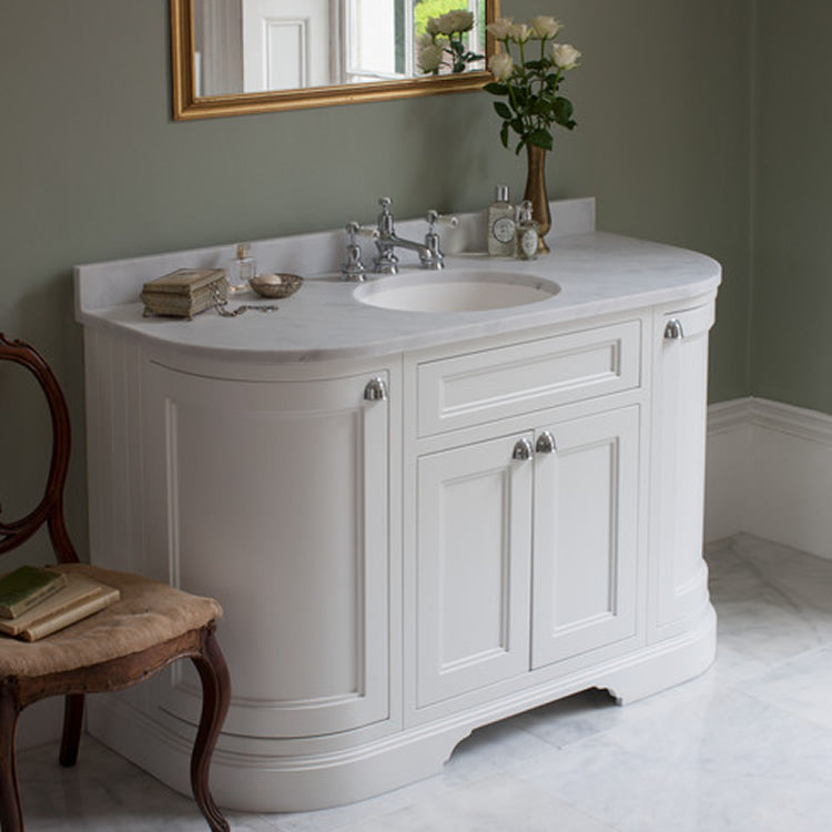 Matt White 1340mm Classic Vanity Unit with Basin (With Doors) - blueskybathrooms