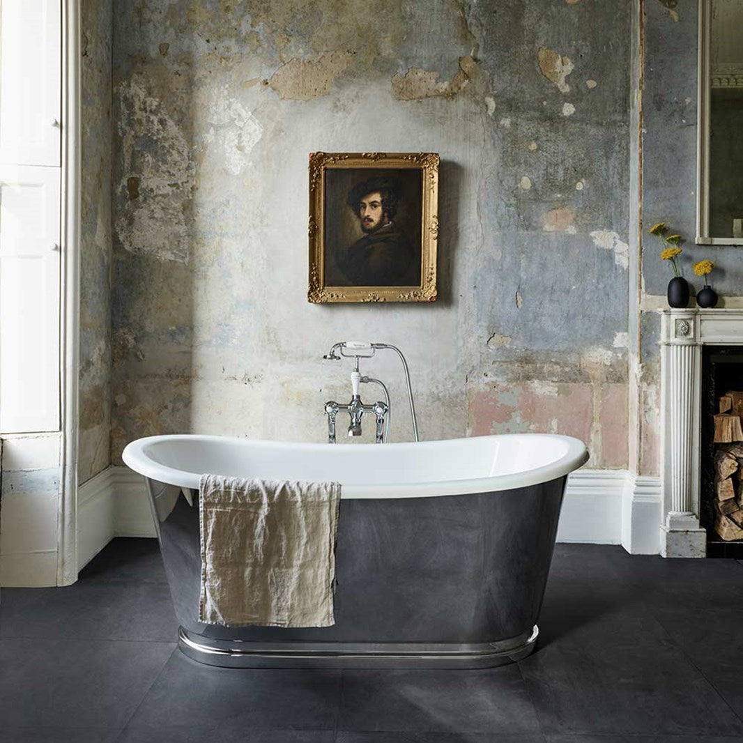 Image of Clearwater Balthazar Chrome ClearStone Roll Top Bath - 1675 x 760mm