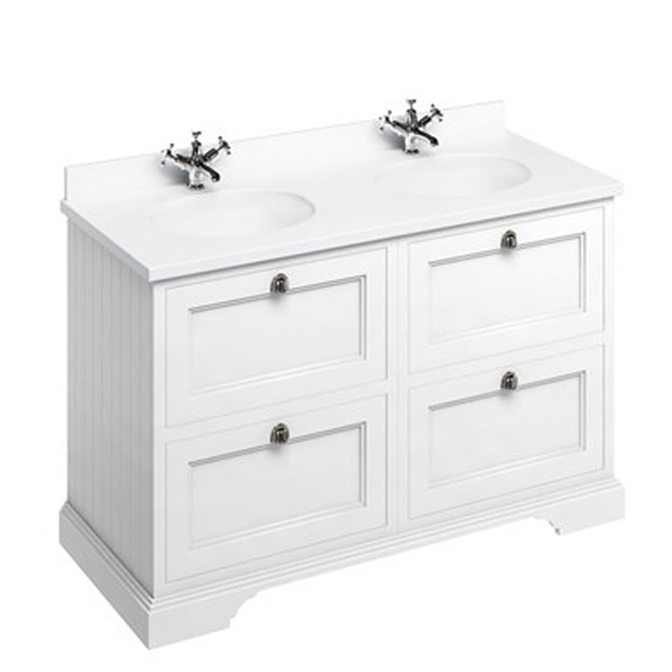 Burlington Matt White 1300mm Double Vanity Unit with Drawers, Worktop & Basin