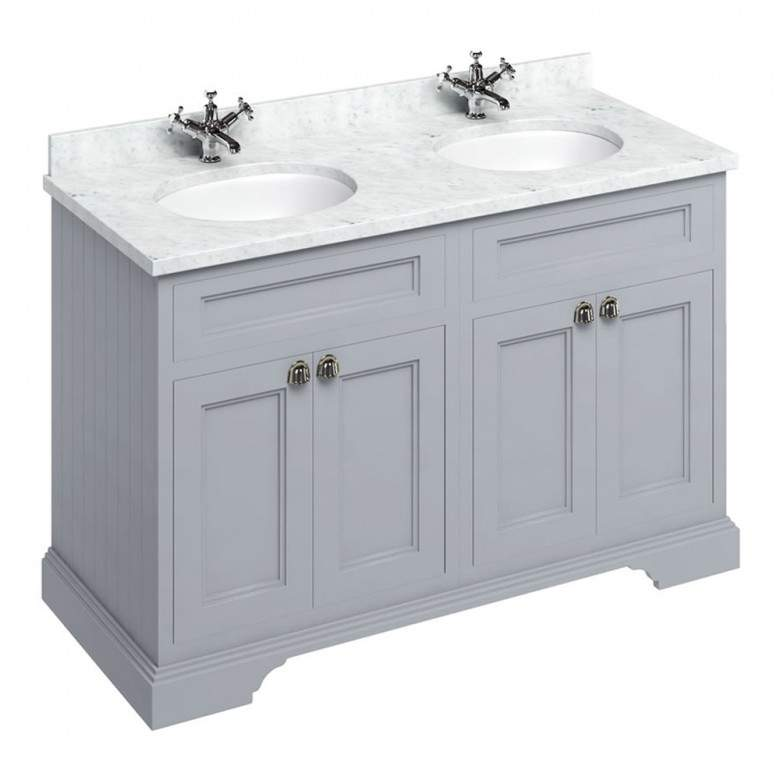 Matt White 130cm Vanity Unit With Four Doors And Worktop - blueskybathrooms