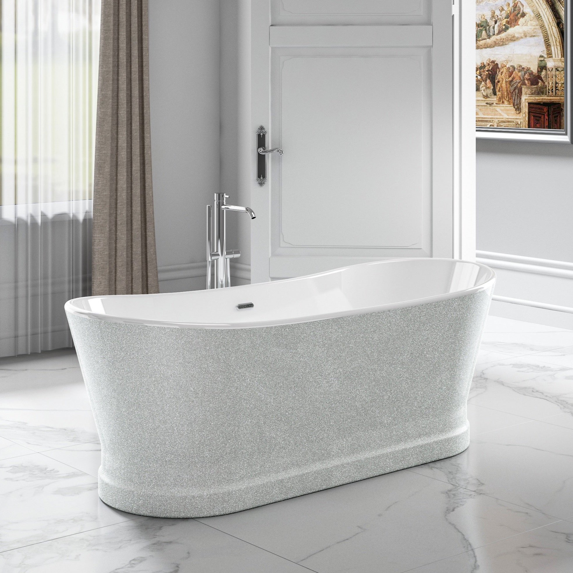 Charlotte Edwards Sparkling Silver Jupiter 1700mm Freestanding Bath