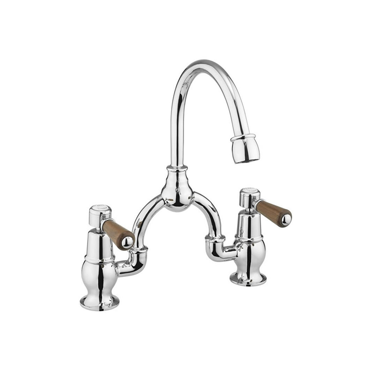 Burlington Kensington Walnut Arch Mixer with Curved Spout