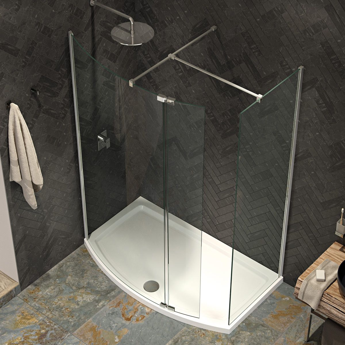 Kudos KStone Curved Shower Tray - blueskybathrooms