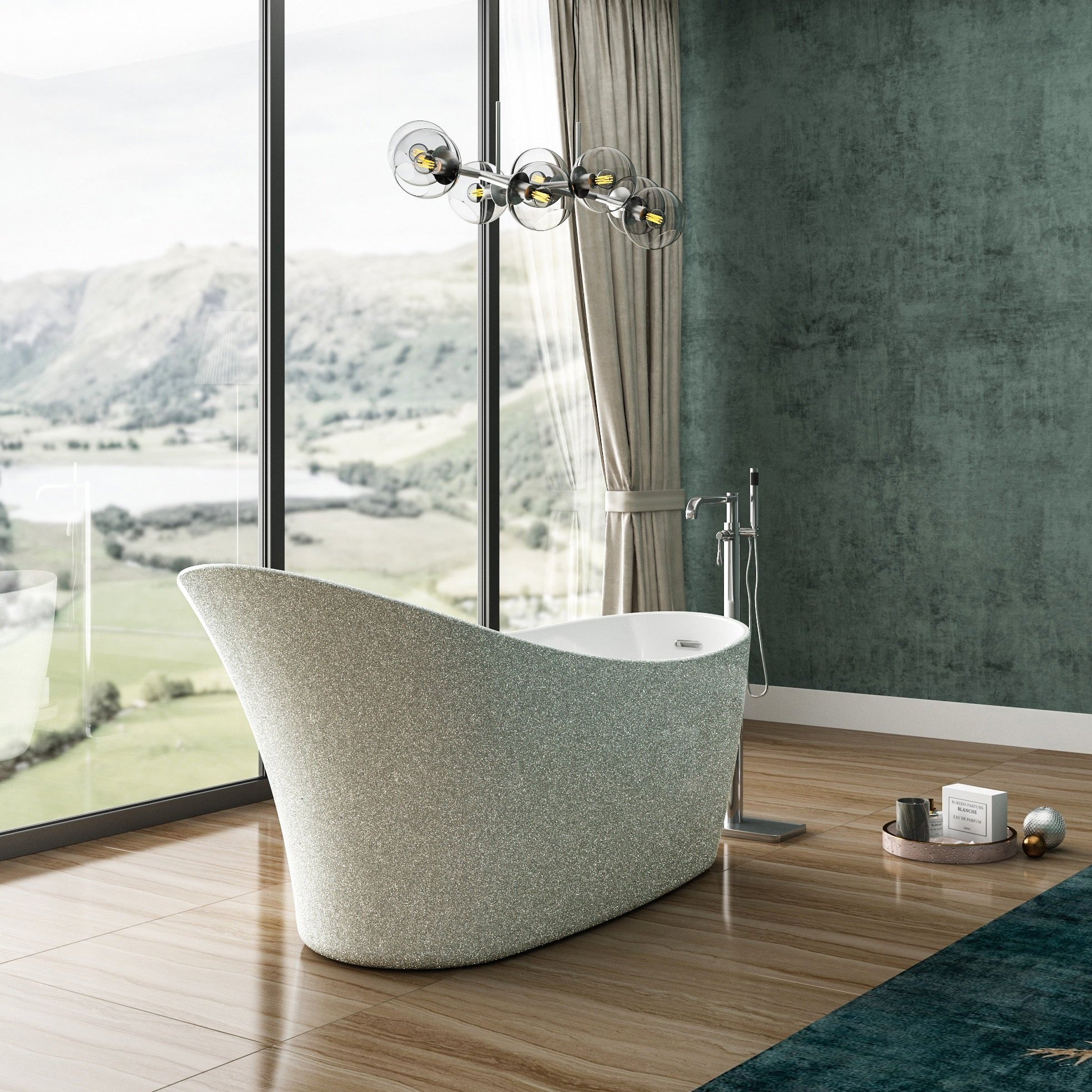 Charlotte Edwards Sparkling Silver 1590mm Portobello Freestanding Bath
