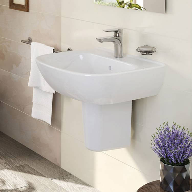 Zentrum 550mm 1 Tap Hole Basin and Pedestal - blueskybathrooms