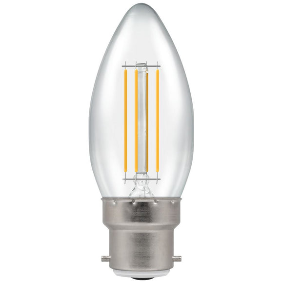 Crompton 5W Warm White BC Clear Candle Dimmable LED Filament
