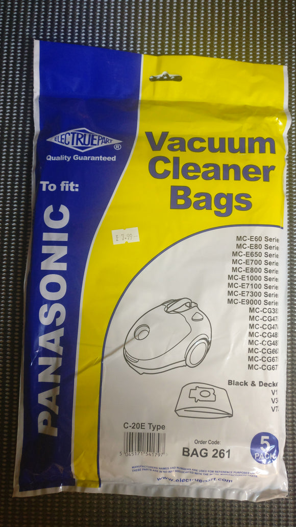 Packet of 5 Pattern bags to fit Panasonic Cylinder Vacuums