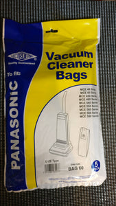 Packet of 5 Pattern bags to fit Panasonic Upright Vacuums