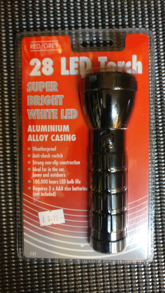 Red/Grey 28 LED Super Bright Torch