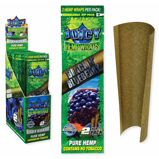 Juicy Jay's Hemp Wraps Black N' Blueberry 25 Packs Per Box 2 Wraps Per Pack - (1 Count)