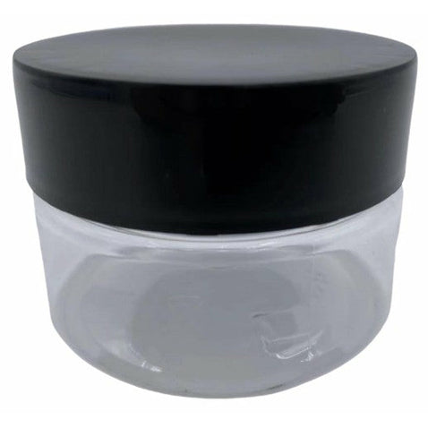 2oz Plastic Jar - Clear - Black Child Resistant Lid PET (100, 200, 400, 600 or 800 Count)