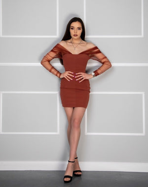 Off The Shoulder Mesh Sleeve Bodycon Dress - LEPITON