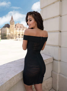Off-Shoulder Bandage Bodycon Black Mesh Party Dress - LEPITON