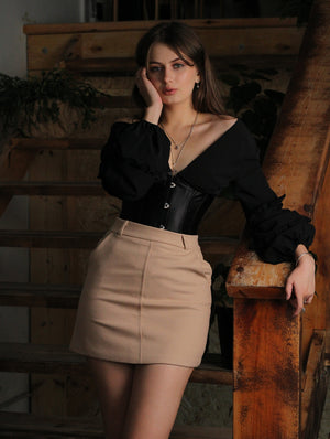 Hollow-Back Bandage-Waist Bishop-Sleeve Top - LEPITON
