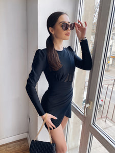 Long Sleeve Bodycon Mesh Mini Dress - LEPITON