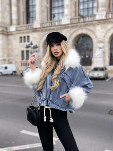 Loose Heavy Hair Jean Short Coat - LEPITON