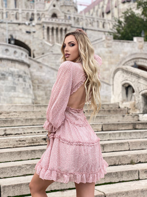 Backless V-Neck Puffed-Sleeve Ruffles Dress - LEPITON