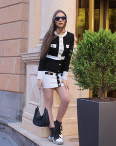Black and White Bandage Two-Piece Bodycon Party Outfit