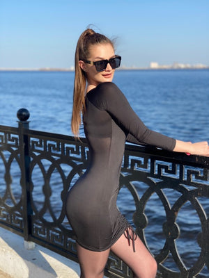 Long Sleeve Slim Elastic Bodycon Dress - LEPITON