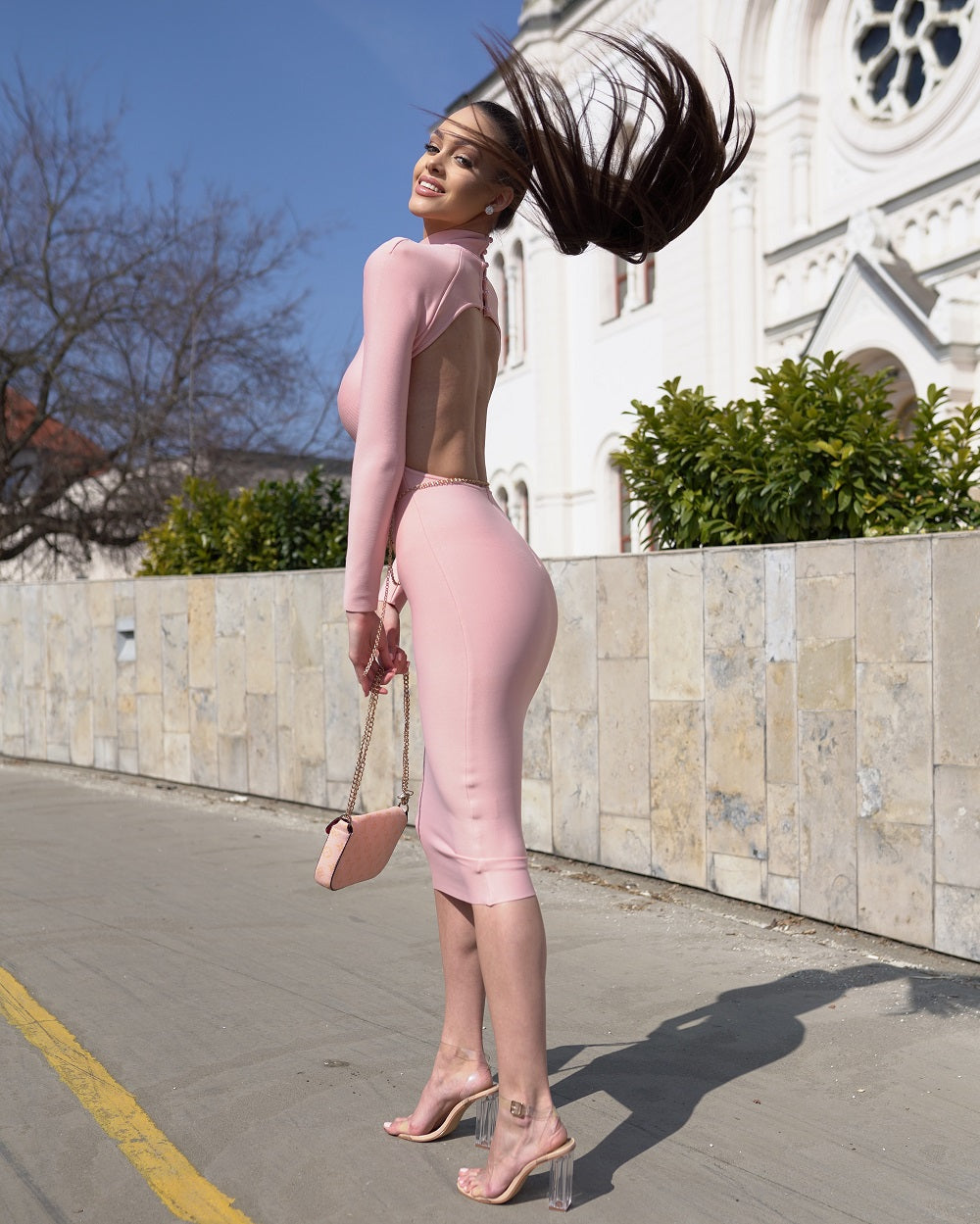 Pink Long Sleeve Halter High-Neck Hollow Bodycon Dress - LEPITON