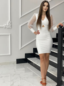 Lace Long Sleeve Bodycon Hollow-Out V-Neck Midi Dress - LEPITON