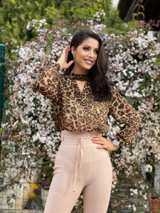 Leopard Choker Cut Out Blouse - LEPITON