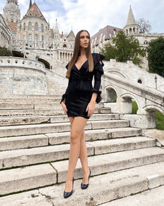 Runway Black Sequins Mini Dress - LEPITON
