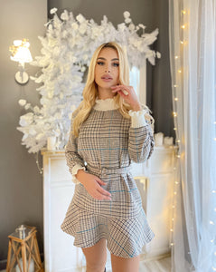 Elegant Plaid Knitted Ruffle Dress - LEPITON