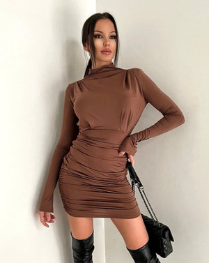 Elegant Turtleneck Pleated Bodycon Mini Dress - LEPITON
