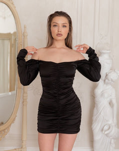 Black Off-Shoulder Puff Sleeve Ruffle Mini Dress - LEPITON