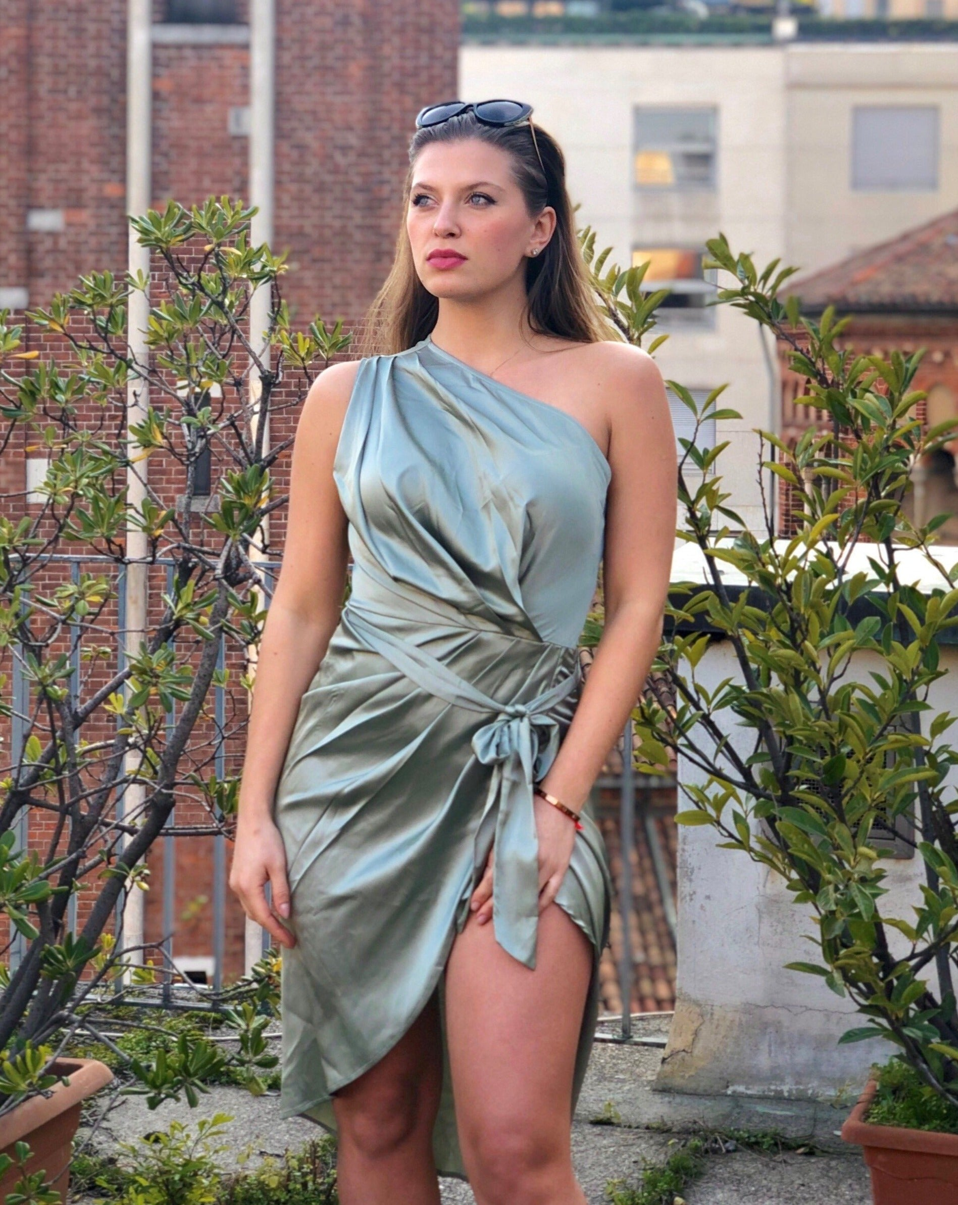 One Shoulder Ruched Bodycon Dress - LEPITON