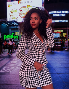 Houndstooth Blazer and Skirt Set - LEPITON