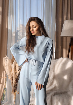 Long Sleeve Wide Leg Romper with Belt - LEPITON