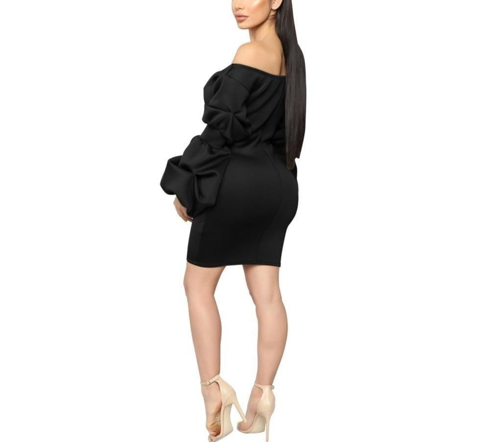 Off-Shoulder Plunging V-Neck Puff Sleeve Tie-Up Bodycon Bandage Mini Dress - LEPITON