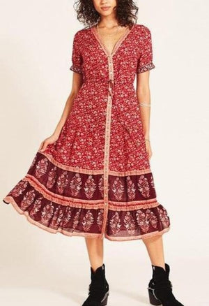 Floral Bohemian Chiffon Casual Short Sleeve V-Neck Wrap Dress