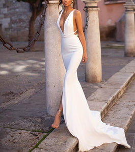 Mermaid Spandex Sleeveless Deep V Neck Dress