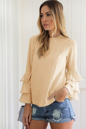 Long Flare Sleeve Chiffon Ruffle Blouse