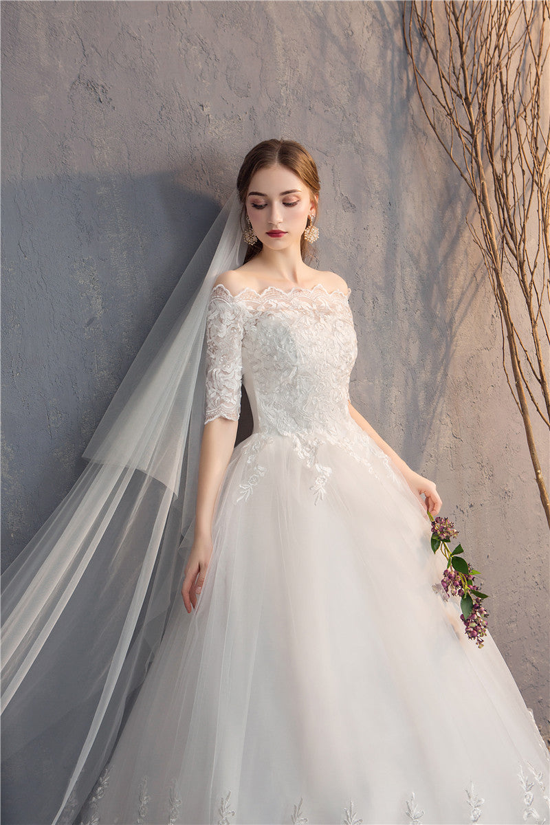 Half-Sleeve Off-Shoulder Embroidery Bridal Gown