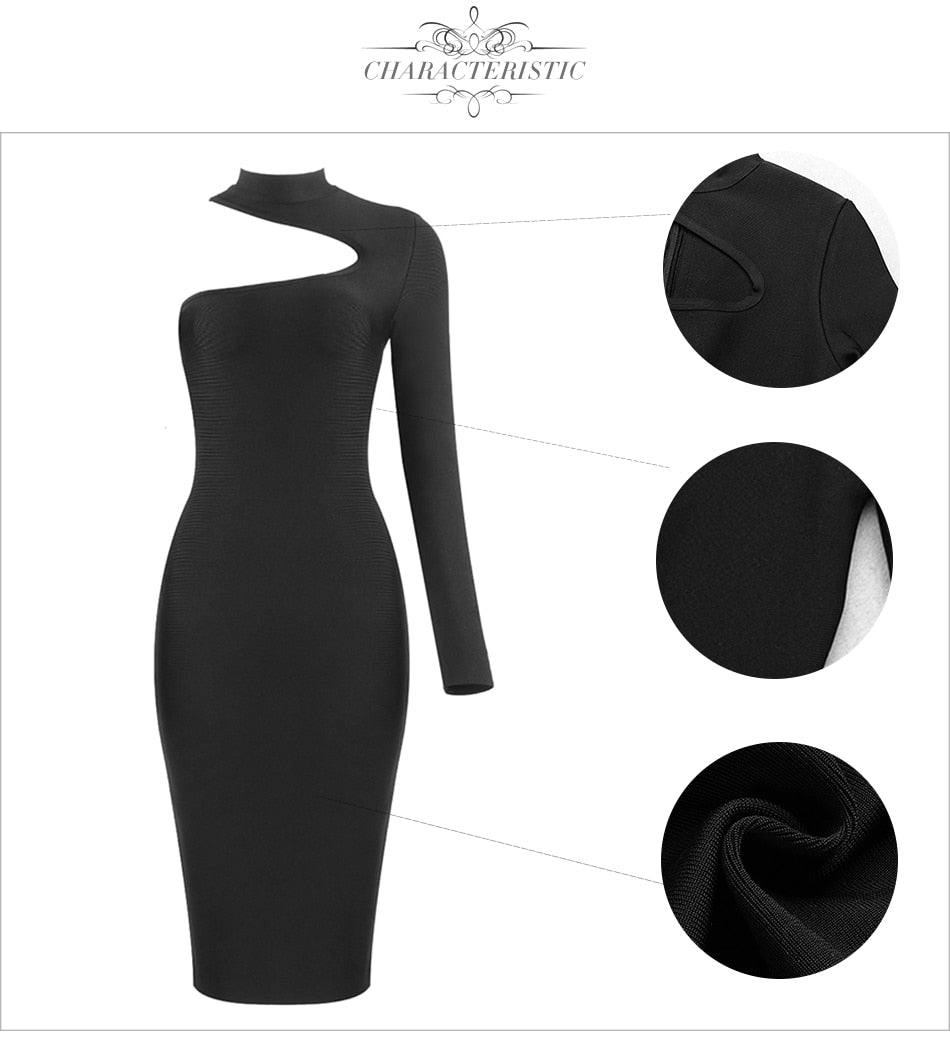 One Shoulder Bandage Dress - LEPITON