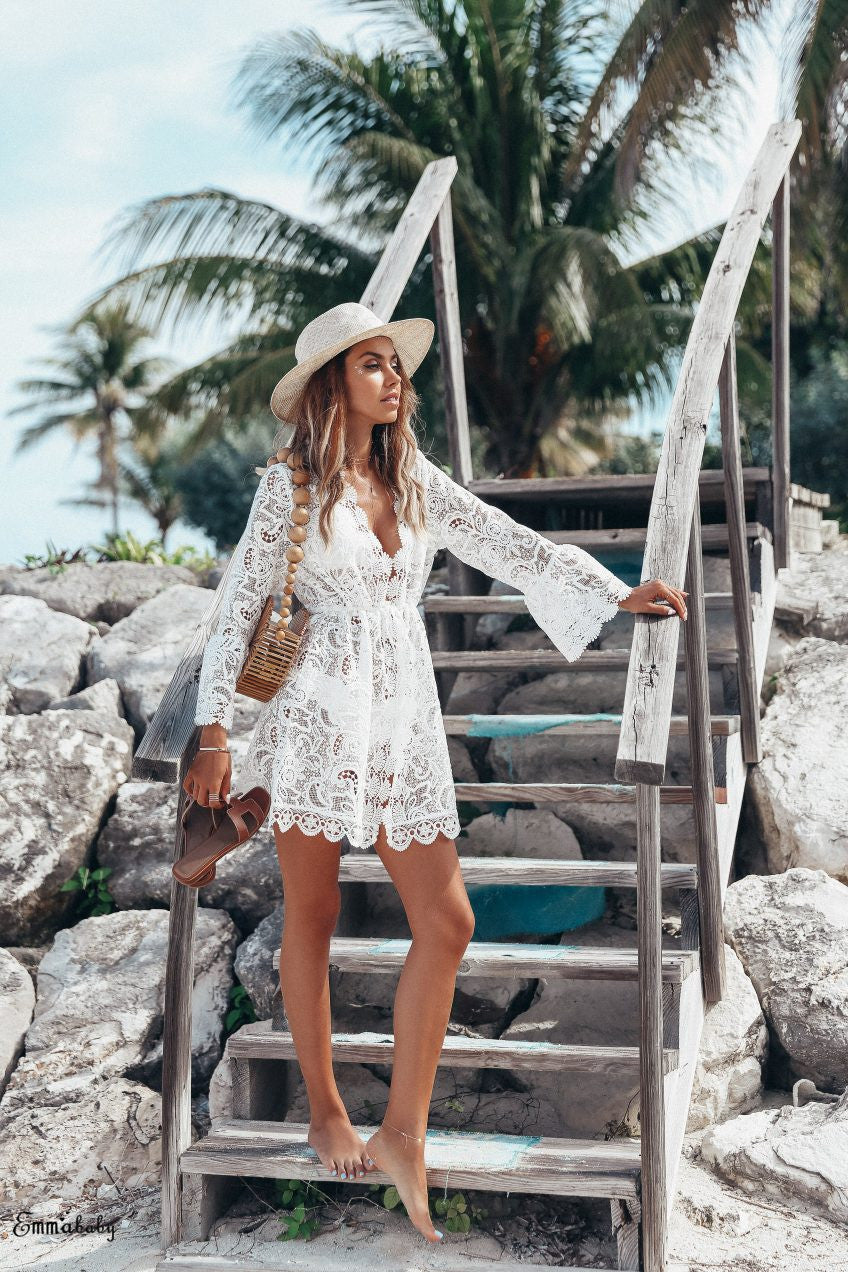 Floral Lace Hollow Crochet Swimsuit Tunic - LEPITON