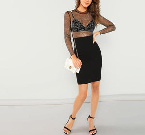 Frill Neck Semi Sheer Mid Waist Solid Bodysuit (Without Bra) - LEPITON
