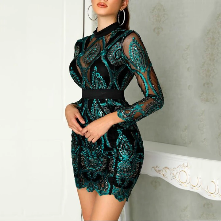 Long Sleeve Mesh See-Through Sequined Dress