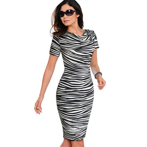 Elegant Bodycon Sheath Ruffle Dress