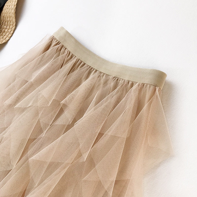 Boho High-waist Long Ruffles Skirt