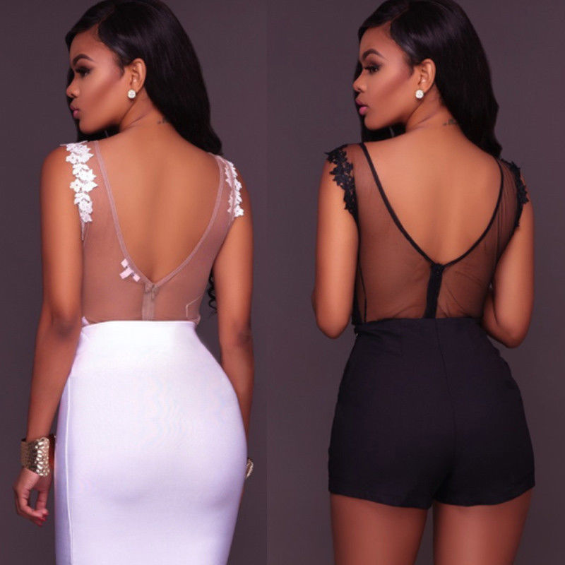V-Neck Lace-Up Floral Bandage Bodysuit - LEPITON