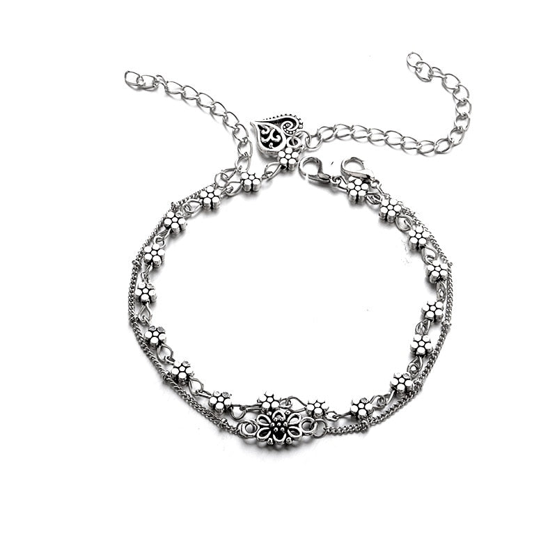 Double Layer Hollow Flower Heart Anklet